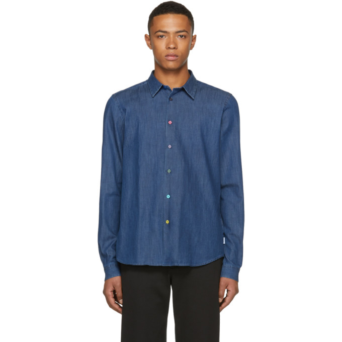 PS BY PAUL SMITH Ps By Paul Smith Blue Denim Cycle Stripe Shirt