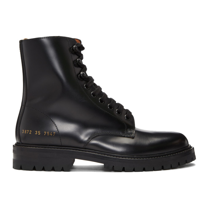Common Projects WOMAN BY COMMON PROJECTS BLACK COMBAT BOOTS