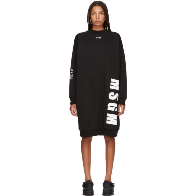 Msgm Black Times New Roman Sweatshirt Dress in 99 Black