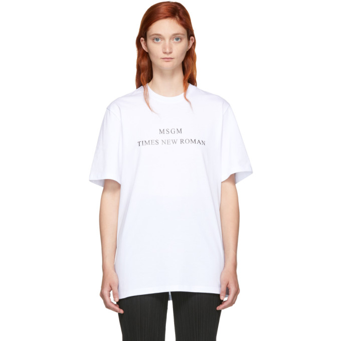MSGM WHITE TIMES NEW ROMAN T-SHIRT