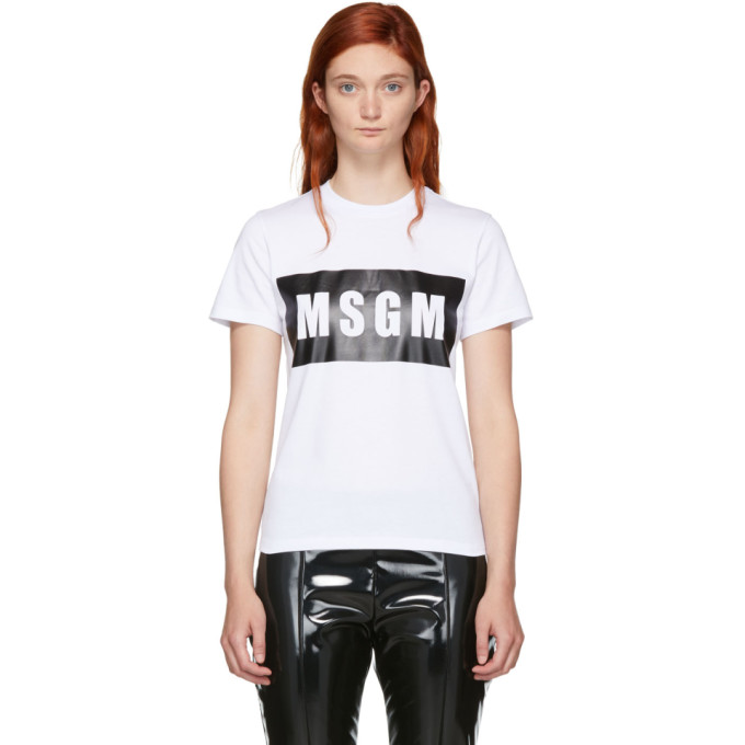 Msgm Logo Outline T-Shirt - White