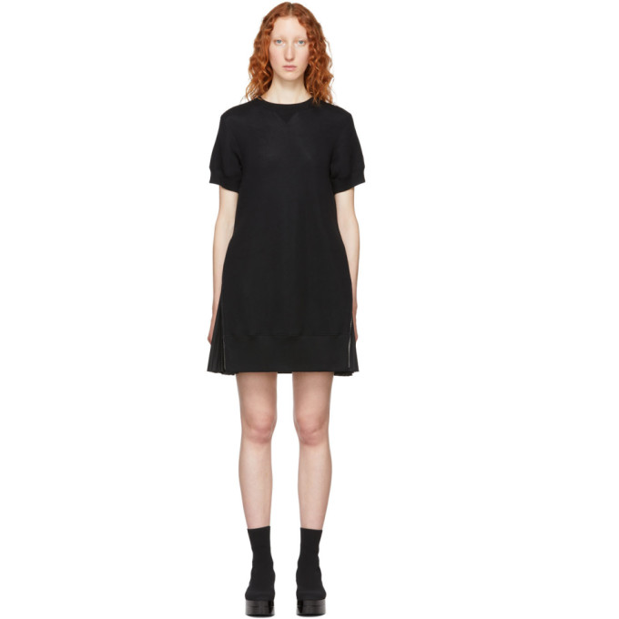 Sacai Black Short Sponge Sweat Dress in 001 Black