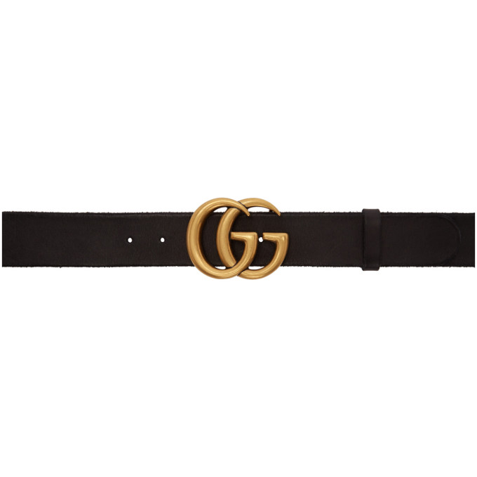 Leather Belt With Double G Buckle in 1000 Black