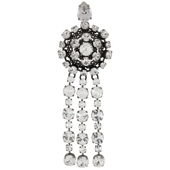 Crystal-Embellished Metal Brooch in 8162 Silver