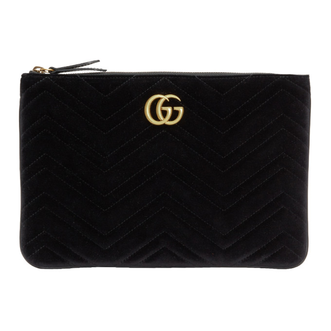 Gucci Black Velvet Gg Marmont 2.0 Pouch in 1000 Black