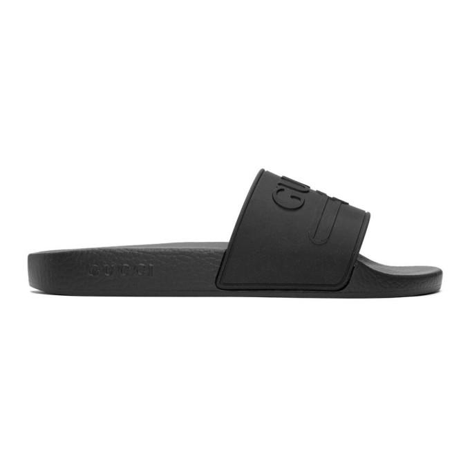 Gucci Pursuit Black Rubber Sliders