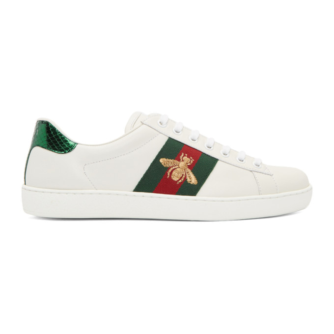 Gucci Ace Watersnake-trimmed Embroidered Leather Sneakers In White Trim: Ayers Snakeskin.