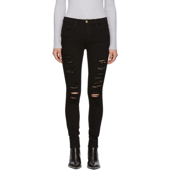Black 'Le Color' Ripped Jeans from SSENSE