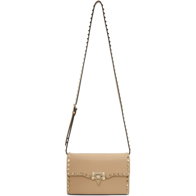 Beige Valentino Garavani Medium Rockstud Flap Bag by Valentino