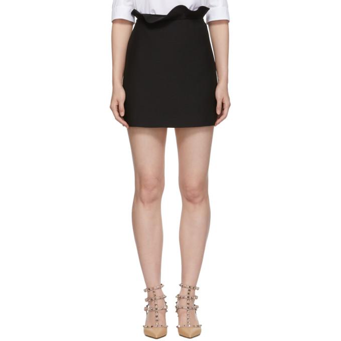 VALENTINO Black Ruffle Band Miniskirt