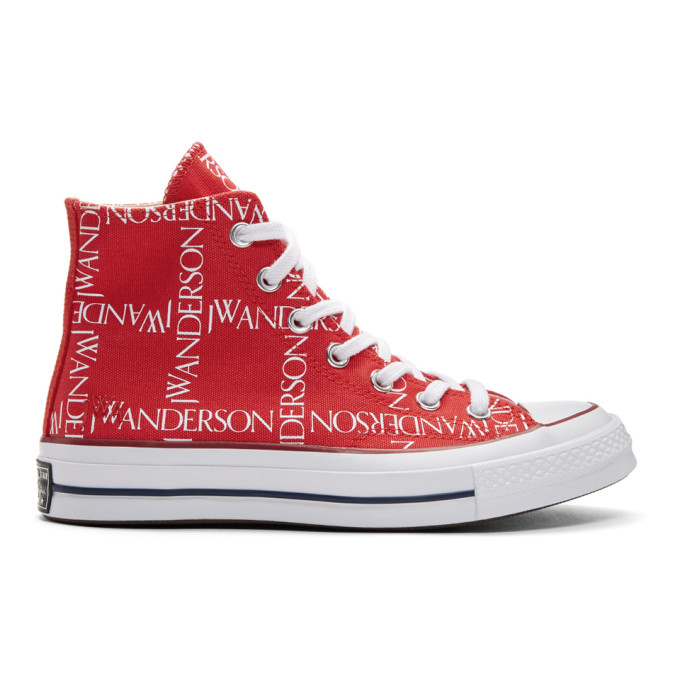Jw Anderson Red Converse Edition Grid Logo Sneakers, Flame.Scr.W