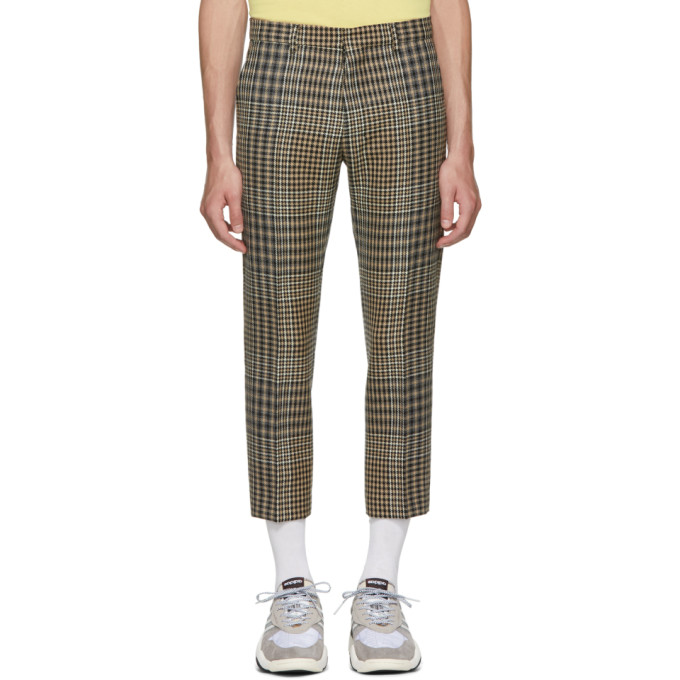 Black & Beige Checkered Cropped Trousers by Ami Alexandre Mattiussi