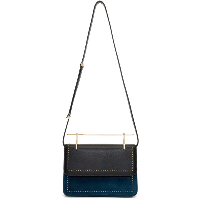 M2MALLETIER BLUE AND BLACK LA FLEUR DU MAL BAG