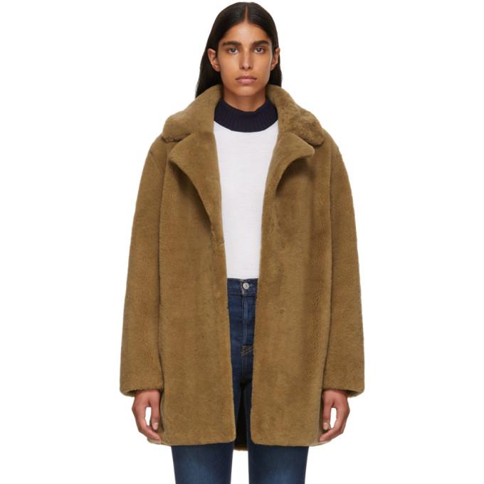 Yves Salomon - Meteo Tan Curly Sheep Coat, A2078 Pecan