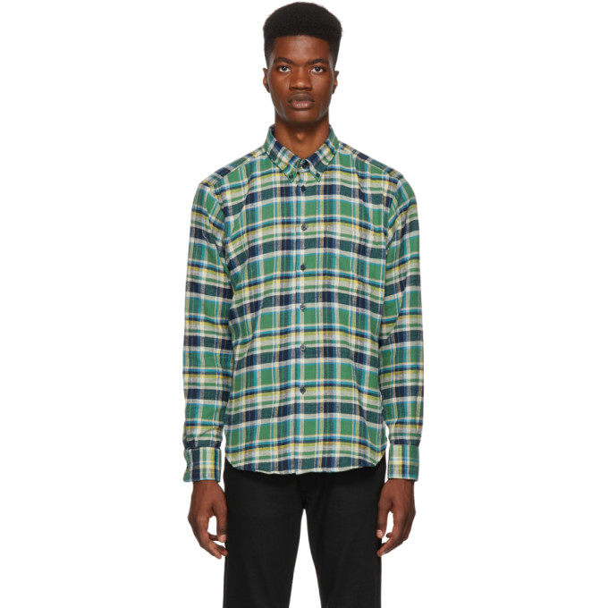 NAKED AND FAMOUS DENIM GREEN AND NAVY RUSTIC FLANNEL SHIRT