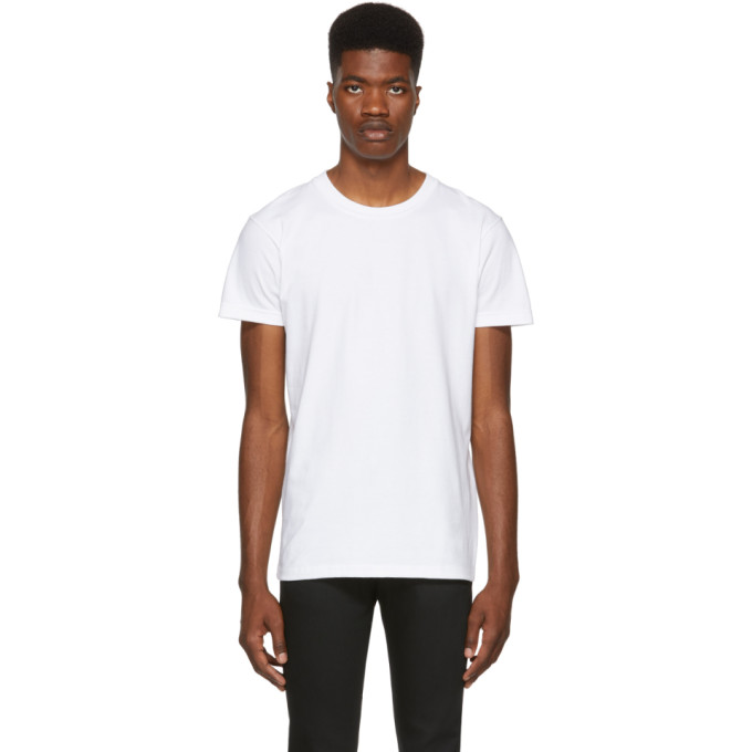 NAKED AND FAMOUS DENIM WHITE RINGSPUN COTTON T-SHIRT