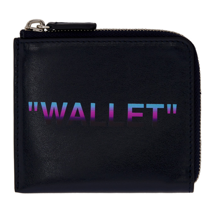 OFF-WHITE BLUE QUOTE ZIP WALLET