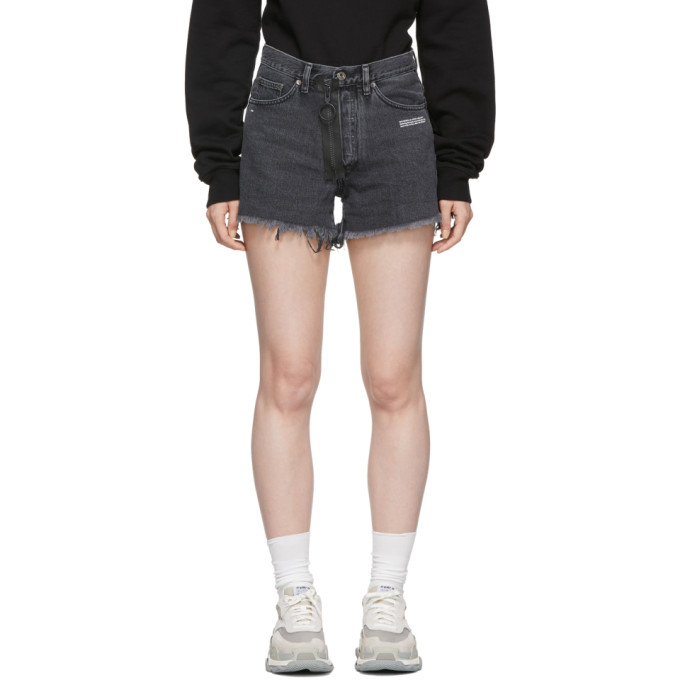 Off-White Text Print Frayed Denim Shorts - Grey, Dk Grey