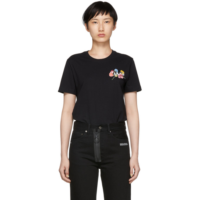 Floral Embroidered T-Shirt in Black