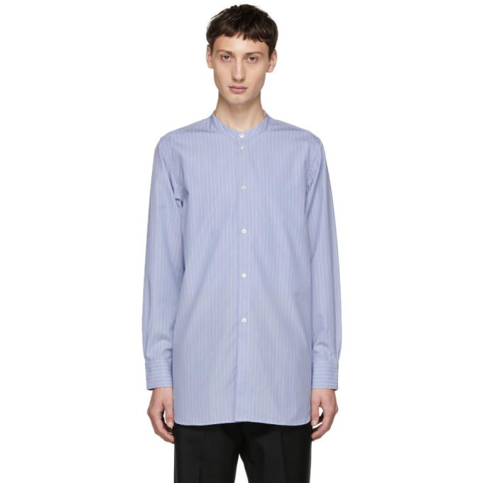 STUDIO NICHOLSON Studio Nicholson Blue Stand Collar Shirt
