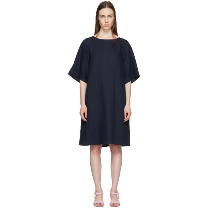 MANSUR GAVRIEL NAVY LINEN BACK PLEAT DRESS