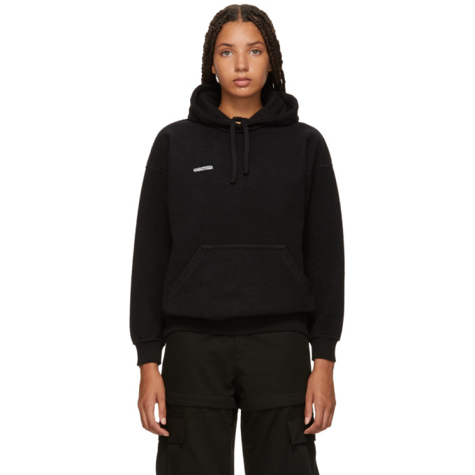 VETEMENTS Sweatshirt Fom: Fitted Inside-Out Hoodie Written On The Back, Black