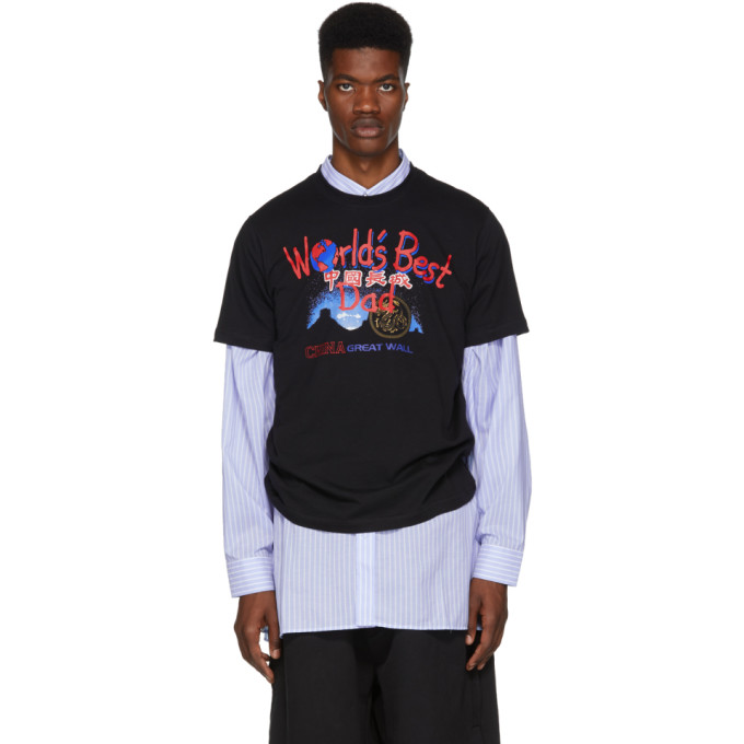 VETEMENTS Printed Cotton-Jersey T-Shirt in Black