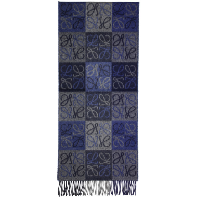 LOEWE Blue & Grey Logo Anagram Scarf