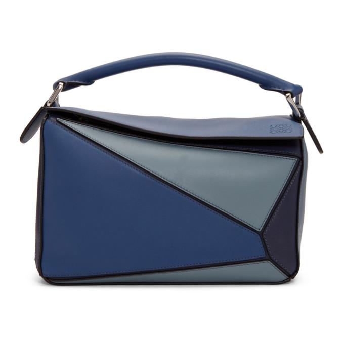 Puzzle Medium Leather Shoulder Bag - Blue