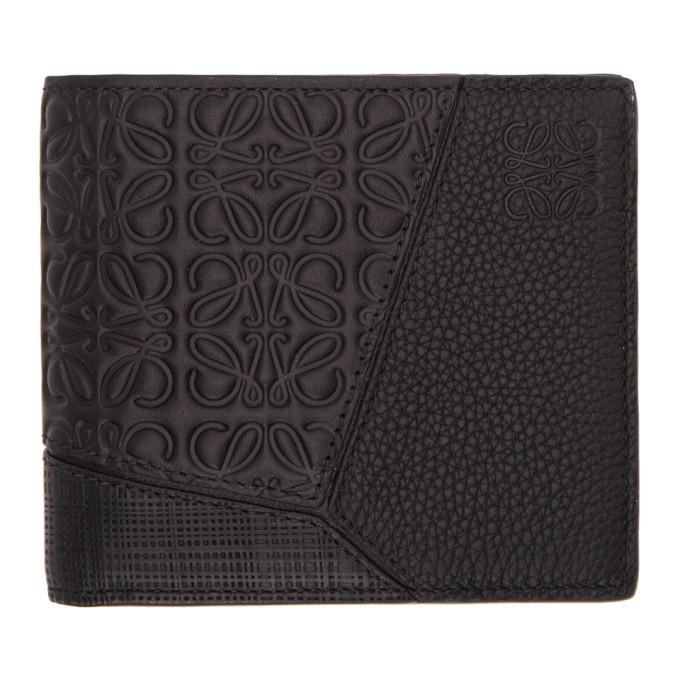 LOEWE Puzzle Leather Bifold Wallet, 1100.Black