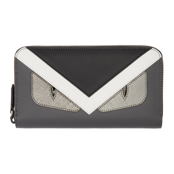 FENDI Grey & Black 'Bag Bugs ' Zip Around Wallet