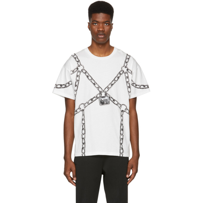 MOSCHINO Chain Harness-Print Cotton-Jersey T-Shirt in White