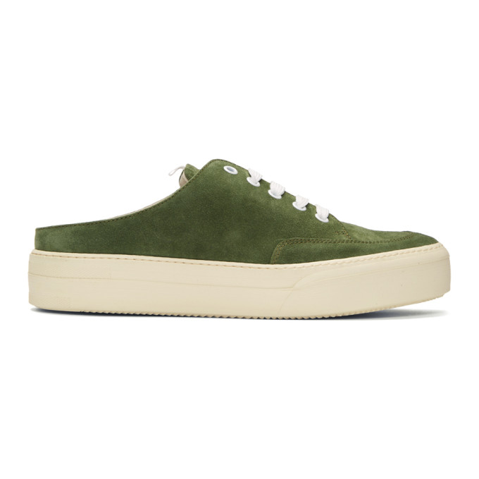 Sunnei Green Suede Sabot Slip-On Sneakers