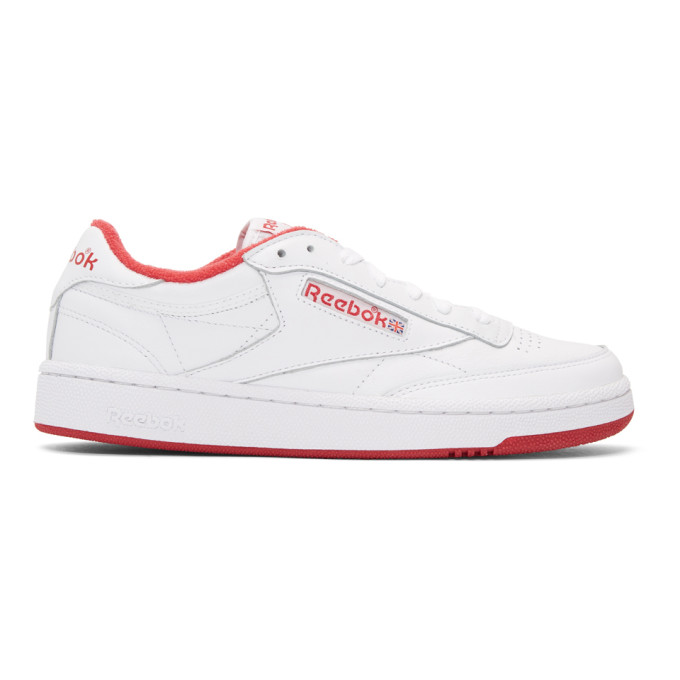 7b8dc17152e Reebok Classics White Club C 85 Archive Sneakers In Wht Red ...