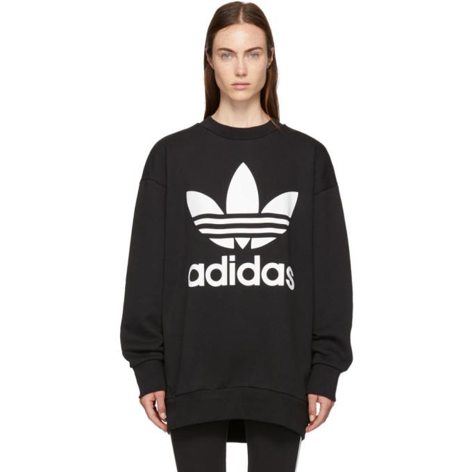 Black Oversized Logo Sweatshirt Dress from SSENSE