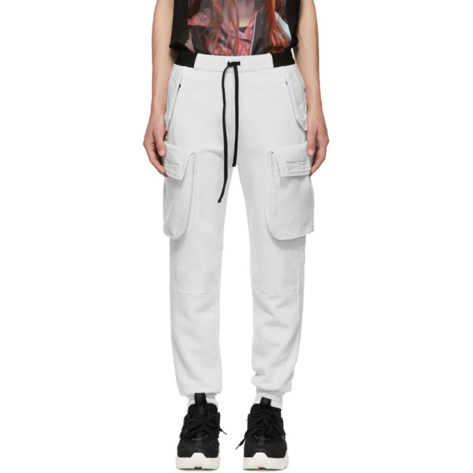 UNRAVEL GREY DROPPED CARGO PANTS