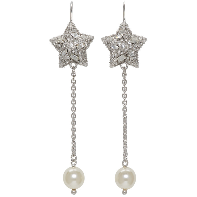 Silver Pearl and Crystal Star Long Earrings Miu Miu