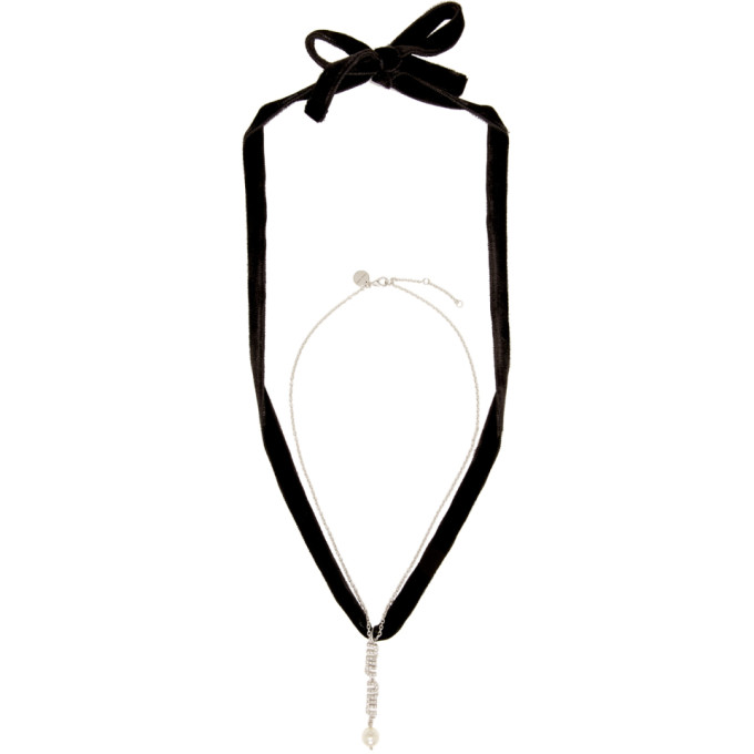 Miu Miu Silver And Black Choker Necklace in F0Qcd Cream