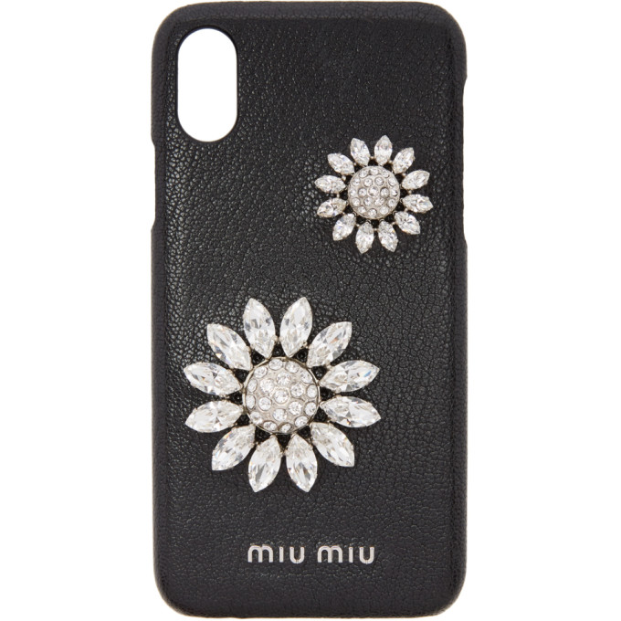MIU MIU BLACK MADRAS FLOWER IPHONE X CASE