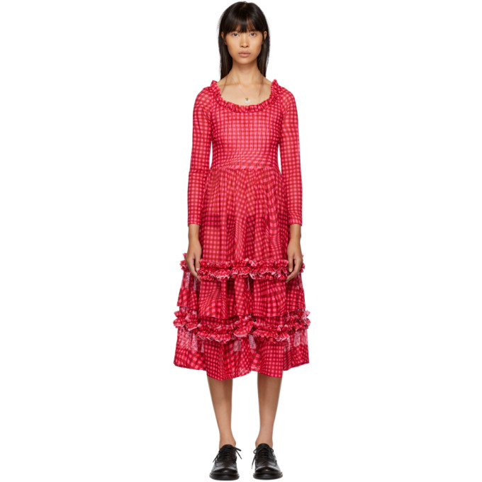 MOLLY GODDARD Molly Goddard - Kelly Gingham Mesh Dress - Womens - Red Multi in Pink Gingha