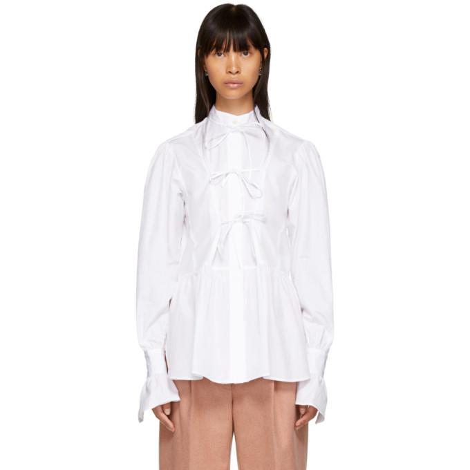 Bow-Detailed Cotton-Poplin Blouse, White