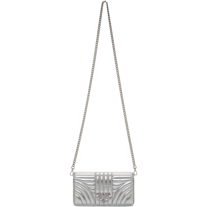 3114c1716ec1 Shoptagr | Silver Quilted Chain Wallet Bag by Prada