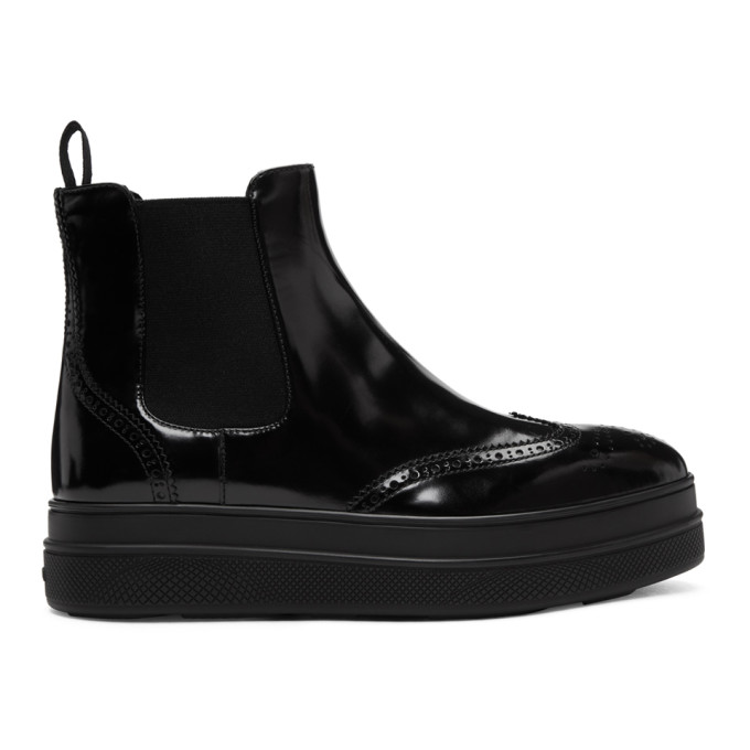 Prada 45 Leather Flatform Chelsea Boots - Black, F0002 Black