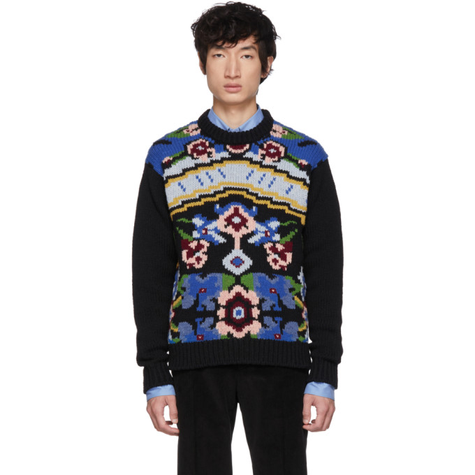 Black Floral Crewneck Sweater by Prada