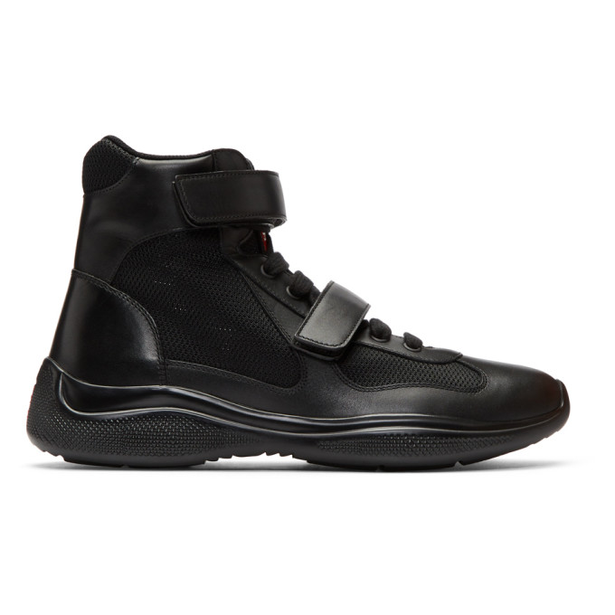 Prada Black Leather & Mesh Velcro High-Top Sneakers