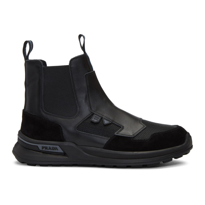 PRADA Leather Chelsea Boots in Black