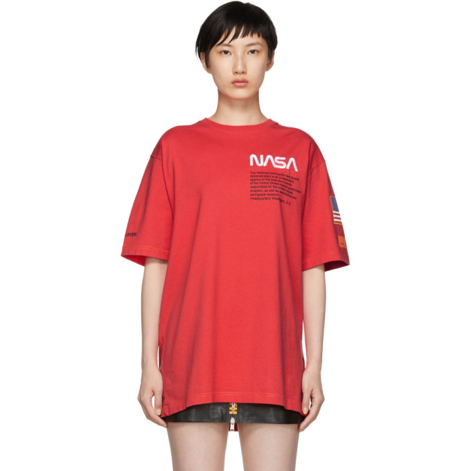 Text-Embroidered Cotton-Jersey T-Shirt, Red
