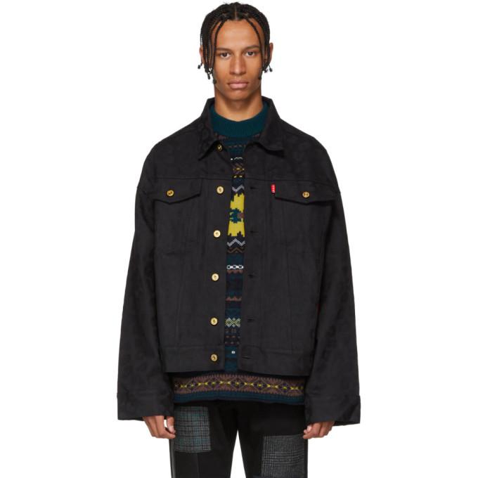 LANDLORD Landlord Black Leopard Jacquard Denim Jacket