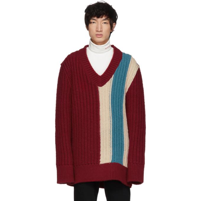 Burgundy Striped V Neck Sweater by Calvin Klein 205 W39 Nyc