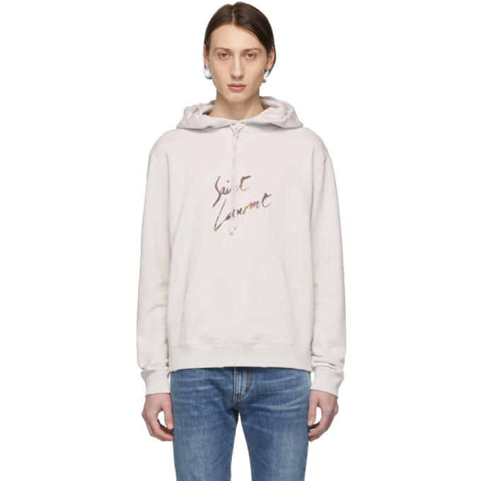Off White Animalier Logo Destroy Hoodie by Saint Laurent